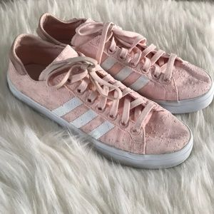 Light Pink adidas lace up 3 striped shoes